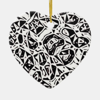 One Abstract Design Ceramic Heart Decoration