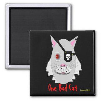 One Bad Cat Square Magnet