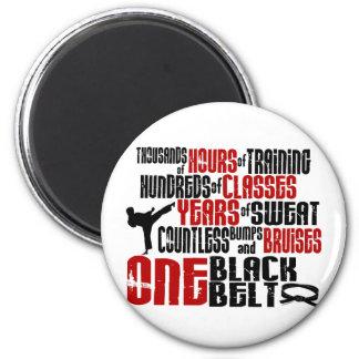 ONE Black Belt 2 KARATE T-SHIRTS & APPAREL 6 Cm Round Magnet