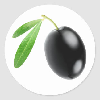 One black olive classic round sticker