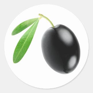 One black olive round sticker