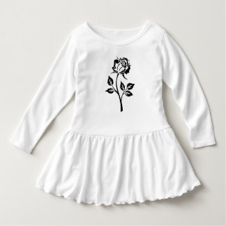 One Black Rose Flower White Toddler Dress
