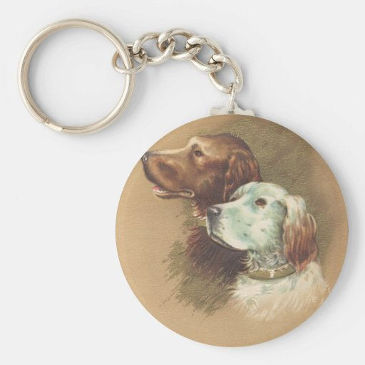 One Brown and One White Dog Basic Round Button Key Ring