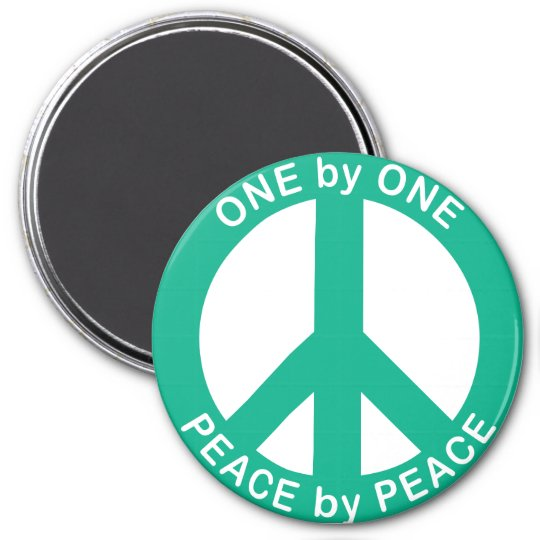 One by One Peace by Peace 3 inch round magnet