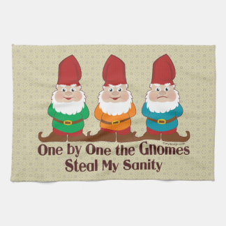 One By One The Gnomes Tea Towel