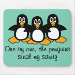 One by One The Penguins Funny Saying Design