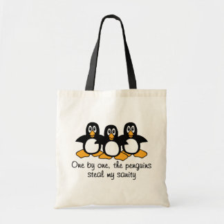 One by One The Penguins Funny Saying Design Tote Bag
