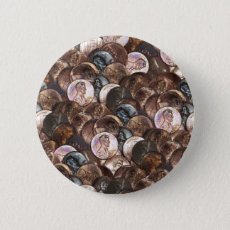 One Cent Penny Spread Background 6 Cm Round Badge