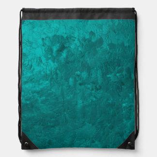 one color painting aqua drawstring bag