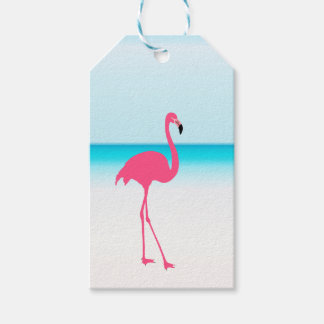 One cute pink flamingo on the beach gift tags
