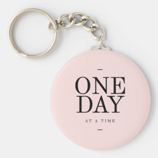 One Day Achieving Goals Quote Blush Pink Gift Key Chain