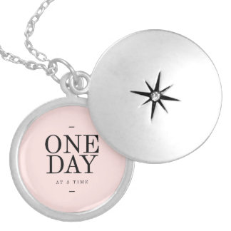 One Day Achieving Goals Quote Blush Pink Gift Lockets