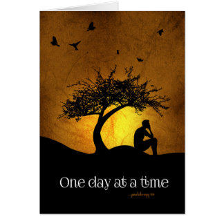 One Day at a Time (12 Step Recovery Male) Note Card