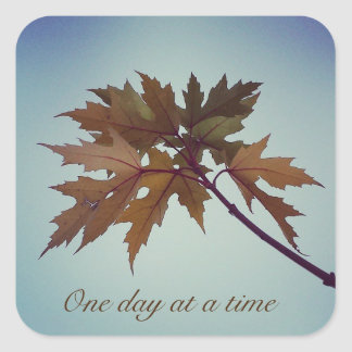 One day at a time 12 step recovery slogan square sticker