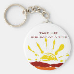 One day at a time basic round button key ring