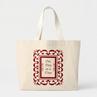 One Day at a Time-Burgundy Fancy Frame Jumbo Tote Bag