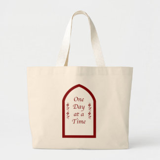 One Day at a Time-Burgundy Frame/Vintage Jumbo Tote Bag