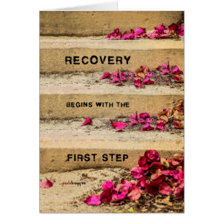 One Day at a Time (Flowers on Steps / Recovery) Note Card