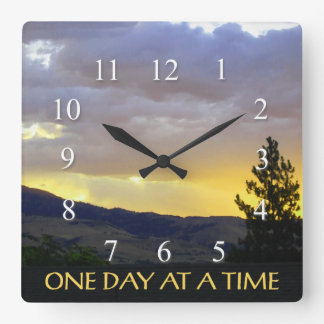 One Day at a Time July Sky Square Wall Clock