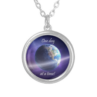 One Day At a Time Round Pendant Necklace