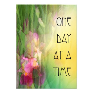 One Day at a Time Pink and Red Irises Custom Invitations