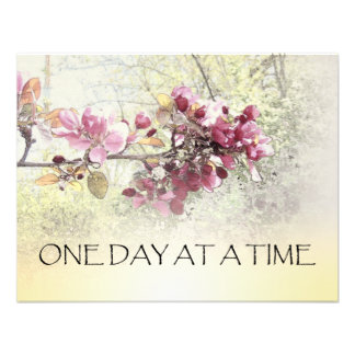 One Day at a Time Pink Blossoms Custom Announcement