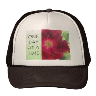 One Day at a Time Red Rose Trucker Hats