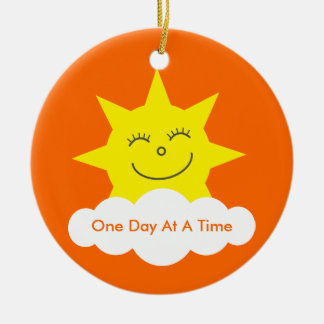 One Day At A Time Sobriety Date Cartoon Sun Round Ceramic Decoration