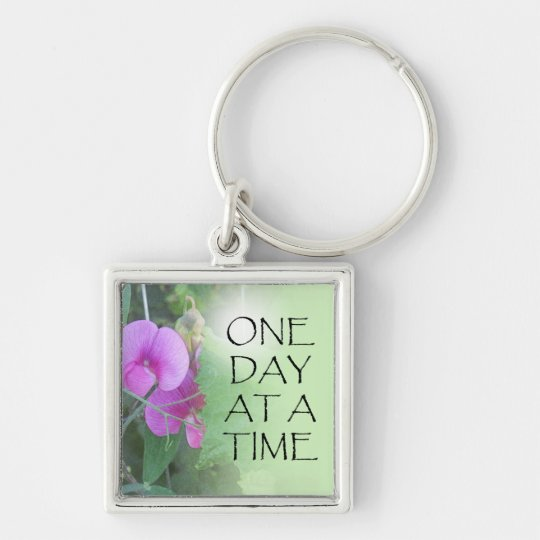 One Day at a Time Sweet Peas Silver-Colored Square Key Ring