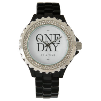 One Day Inspiring Quote White Black Gifts Watch