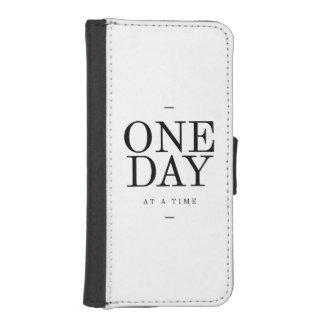 One Day Inspiring Sobriety Quote White Black iPhone SE/5/5s Wallet Case