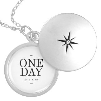 One Day Inspiring Sobriety Quote White Black Silver Plated Necklace