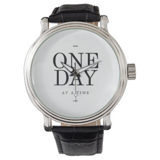 One Day Inspiring Sobriety Quote White Black Watch