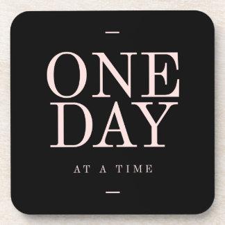 One Day - Motivational Quote Black Pink Goals Beverage Coaster