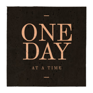 One Day - Motivational Quote Black Pink Goals Drink Coasters