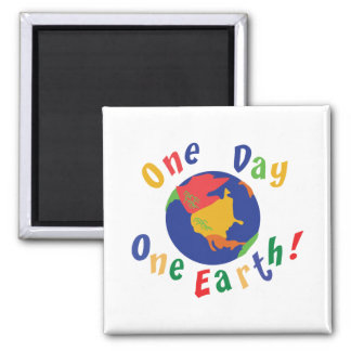 One Day One Earth Square Magnet