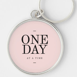 One Day Perseverance Quote Blush Pink Gift Key Chain