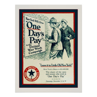 One Day's Pay ~ Vintage World War 1 Poster