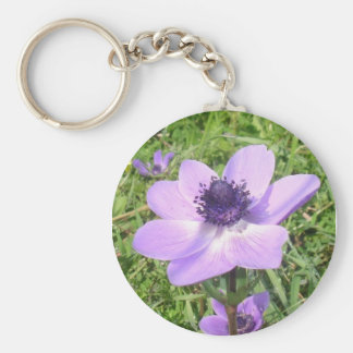 One Delicate Pale Lilac Anemone Coronaria Basic Round Button Key Ring