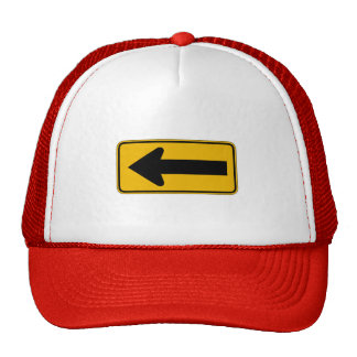 One Direction Arrow Left, Traffic Warning Sign, US Mesh Hats