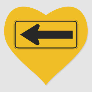 One Direction Arrow Left, Traffic Warning Sign, US Heart Sticker