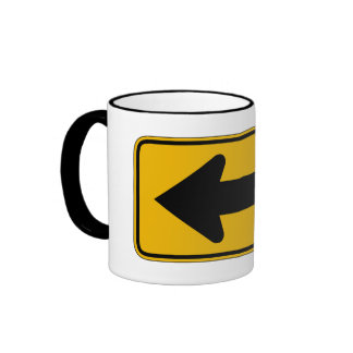 One Direction Arrow Left, Traffic Warning Sign, US Coffee Mugs
