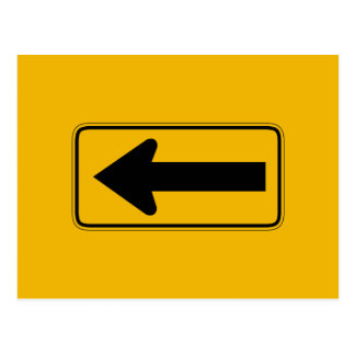 One Direction Arrow Left, Traffic Warning Sign, US Postcard