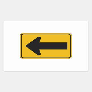 One Direction Arrow Left, Traffic Warning Sign, US Rectangular Sticker