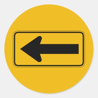 One Direction Arrow Left, Traffic Warning Sign, US Round Sticker
