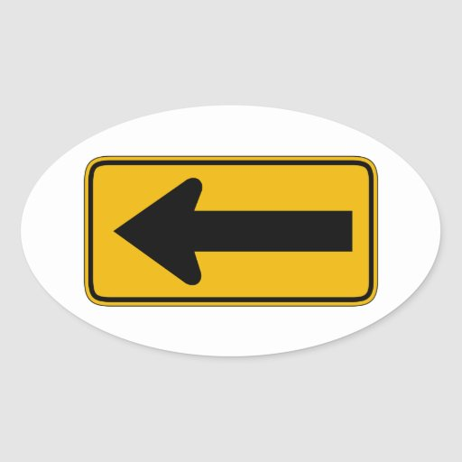 One Direction Arrow Left, Traffic Warning Sign, US Oval Sticker