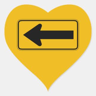 One Direction Arrow Left Traffic Warning Sign US Heart Sticker