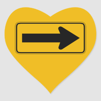 One Direction Arrow Right, Traffic Warning Signs Heart Sticker