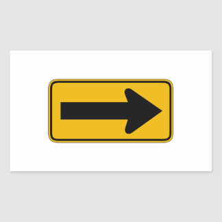 One Direction Arrow Right, Traffic Warning Signs Rectangular Sticker
