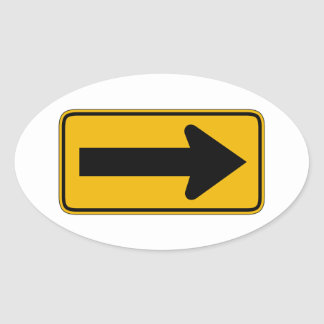 One Direction Arrow Right Traffic Warning Signs Oval Sticker